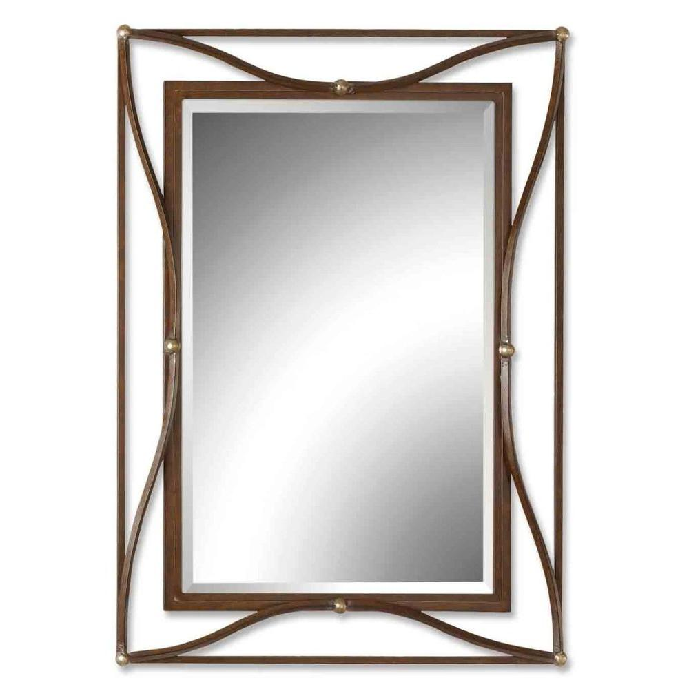 Global Direct 38 in. x 28 in. Bronze Metal Framed Mirror