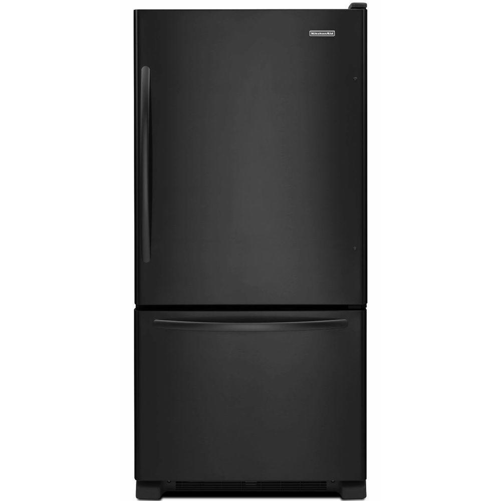 KitchenAid Architect Series II 33 in. W 22.1 cu. ft. Bottom Freezer Refrigerator in Black