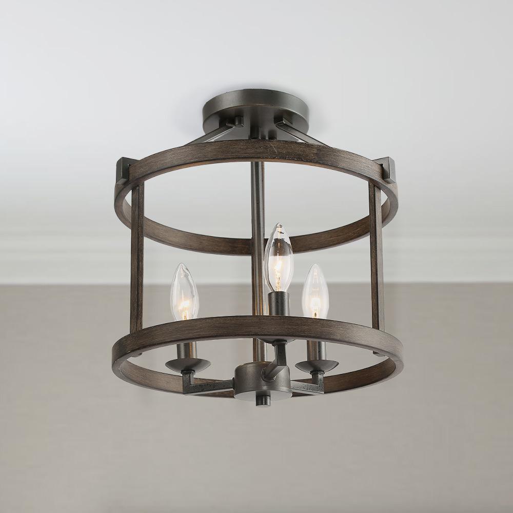 Light Bronze Faux Wood Drum Foyer