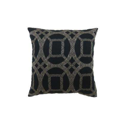 Dior 18 in. Contemporary Throw Pillow in Black (Pack of 2)