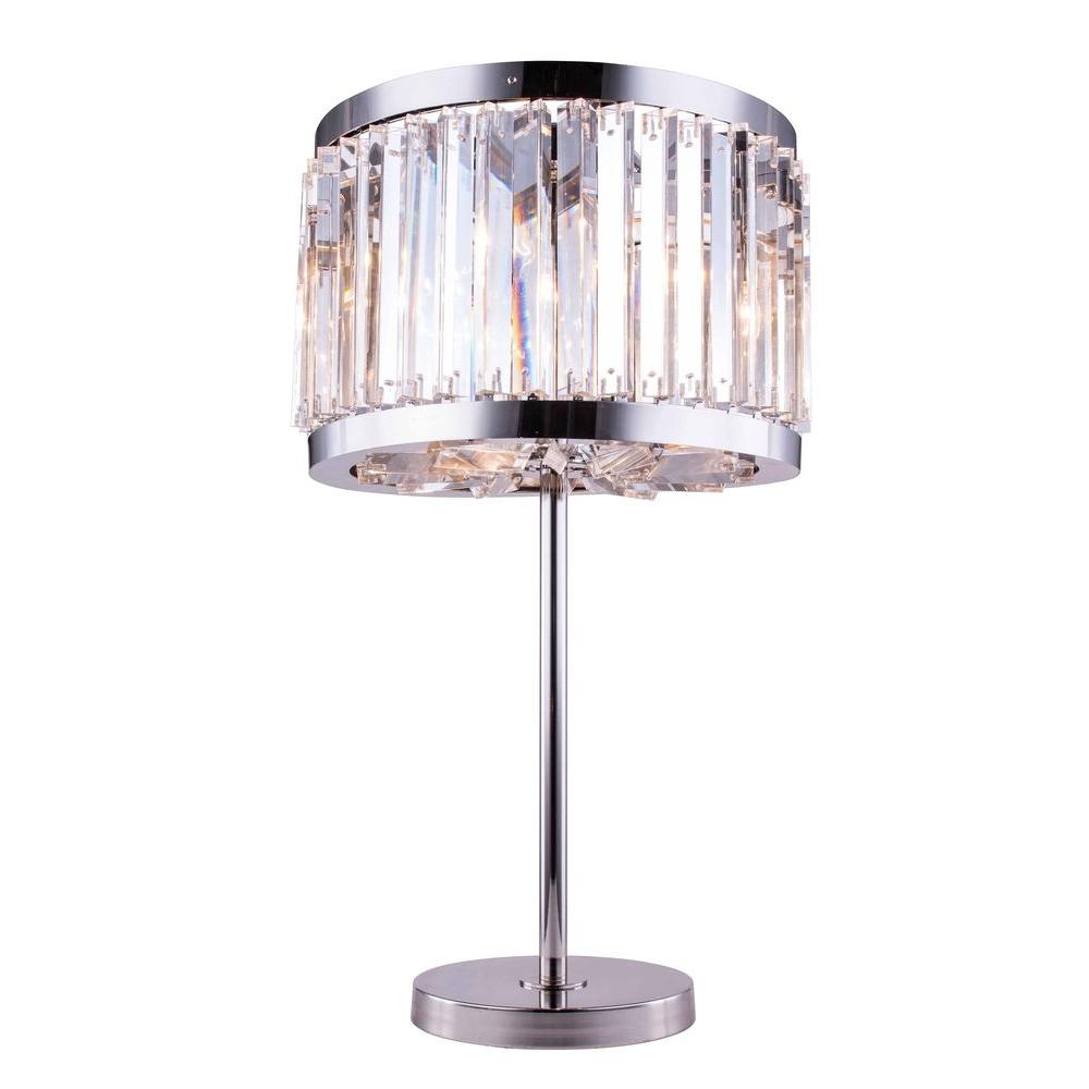 Elegant lighting chelsea 32 in polished nickel table lamp with elegant lighting chelsea 32 in polished nickel table lamp with clear crystal aloadofball Images