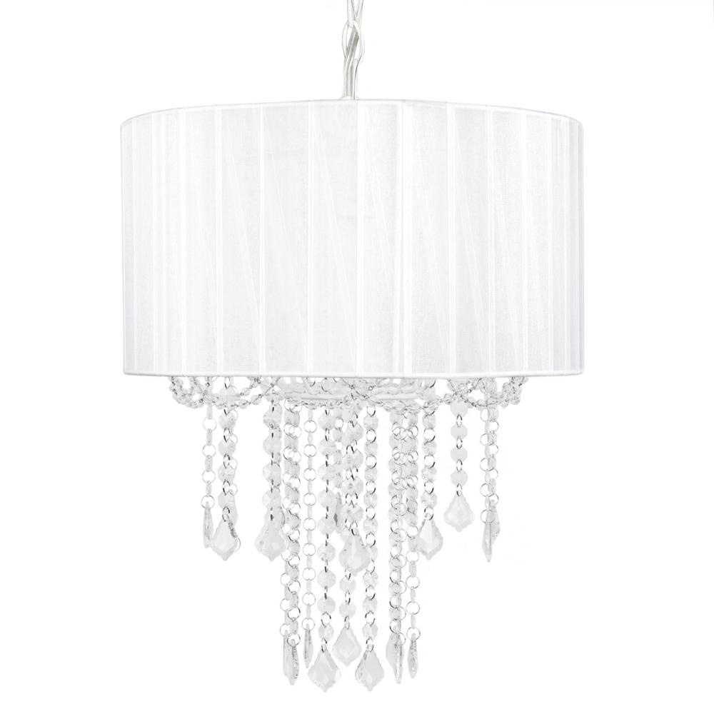 1-Light White Chandelier Shade