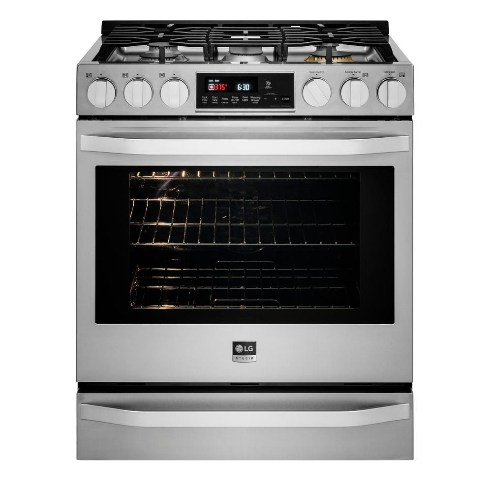 LG STUDIO 30 in. 6.3 cu. ft. Gas Range with Self-Cleaning Oven in Stainless Steel