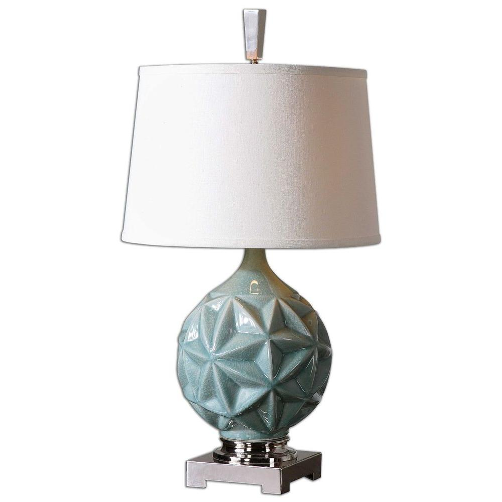Global Direct 28 in. Crackled Sky Blue Table Lamp