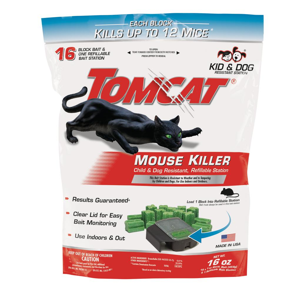 Tomcat Mouse Killer Child and Dog Resistant Refillable Station, 1 Station with 16 Baits