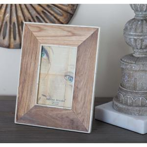 1-Opening 7 inch x 9 inch Brown and White Picture Frame by