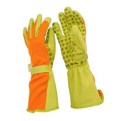 Medium Synthetic Leather Utility Garden Gloves with Extended Forearm Protection