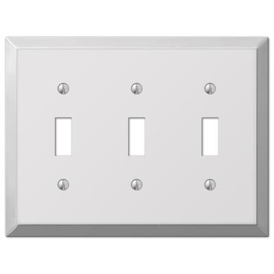 Metallic 3 Gang Toggle Steel Wall Plate - Polished Chrome