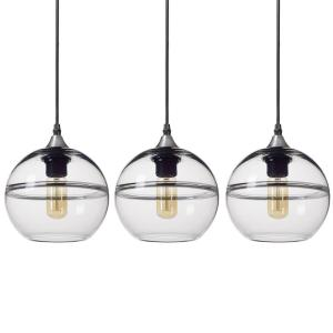 7 in. H 1-Light Unique Optic Contemporary Nickel ''DoubleEyelid'' Hand Blown Clear Glass Shade Pendant (Pack of 3)