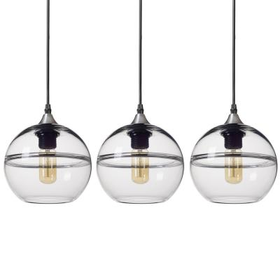 """7 in. H 1-Light Unique Optic Contemporary Nickel """"DoubleEyelid"""" Hand Blown Clear Glass Shade Pendant (Pack of 3)"""