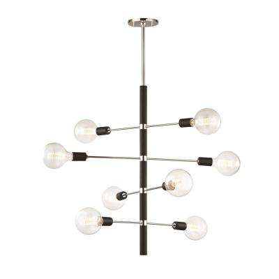 Astrid 8-Light Polished Nickel Chandelier with Black Accents
