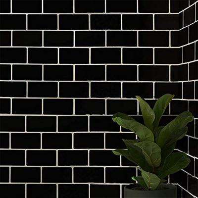 Subway Black 12 in. W x 12 in. H Peel and Stick Decorative Mosaic Wall Tile Backsplash (5 Tiles)