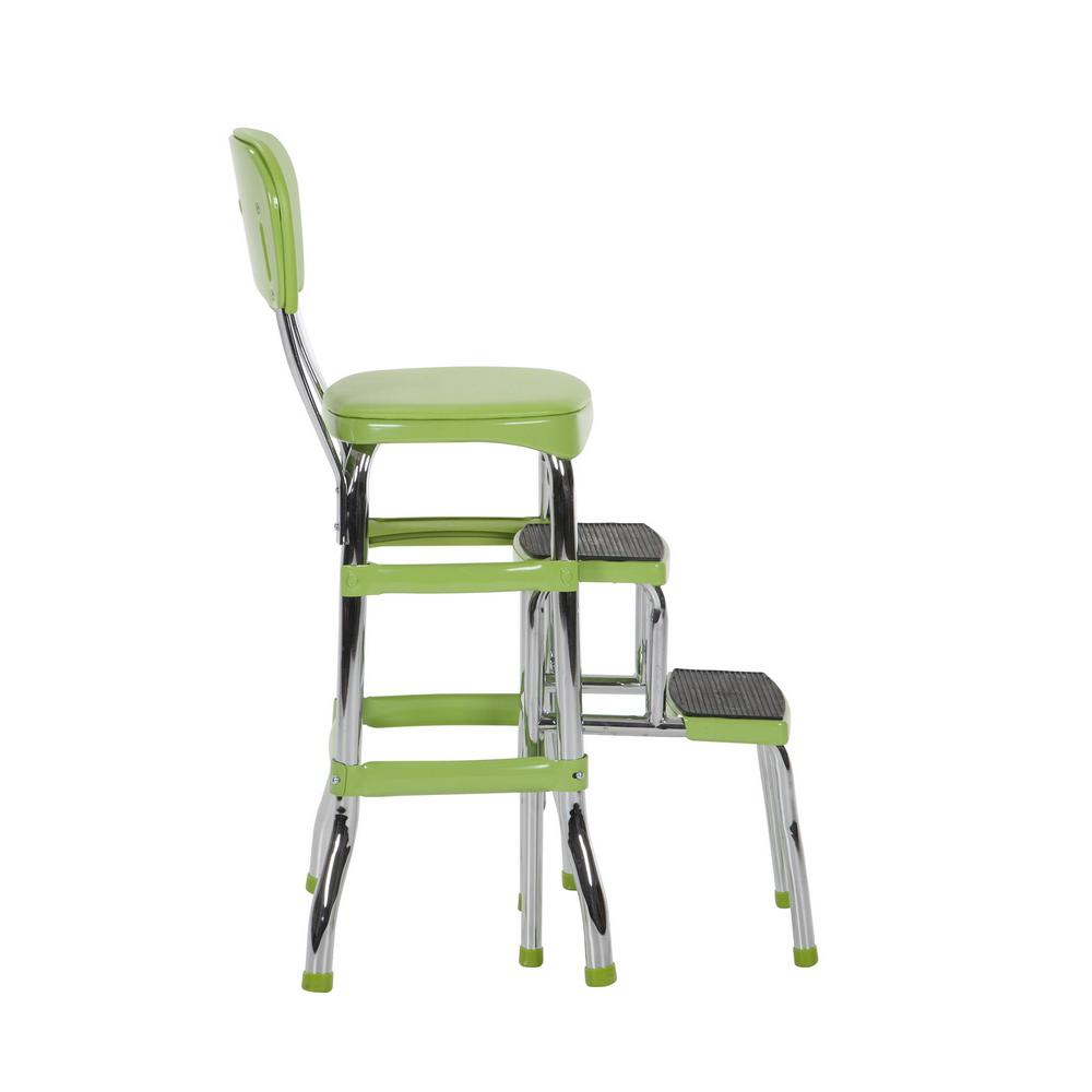 Swell Cosco 2 Step 3 Ft Aluminum Retro Step Stool With 225 Lb Load Capacity In Green Machost Co Dining Chair Design Ideas Machostcouk