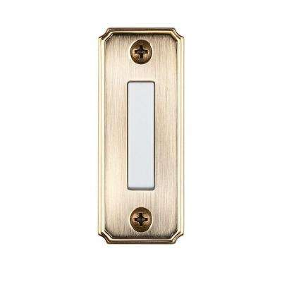 Wired Lighted Door Bell Push Button, Aged Brass