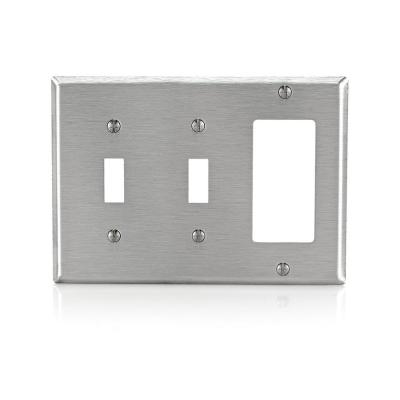 Stainless Steel 3-Gang 2-Toggle/1-Decorator/Rocker Wall Plate (1-Pack)