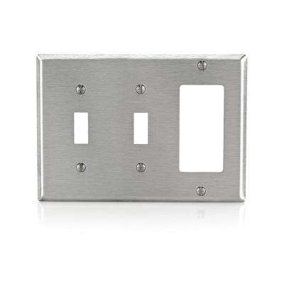 3-Gang Standard Size 2-Toggles 1-Decora Combination Wall Plate, Stainless Steel
