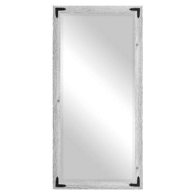 Layla Justine Rectangle White Washed Antique Floor Mirror