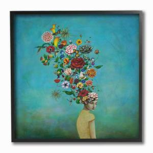 12 in. x 12 in. ''Flowers on Her Mind Bright Blue Floral Painting'' by Duy Huynh Framed Wall Art