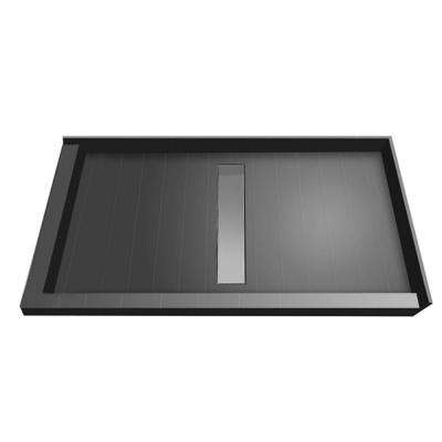 36 in. x 48 in. Double Threshold Shower Base with Center Drain and Tileable Trench Grate