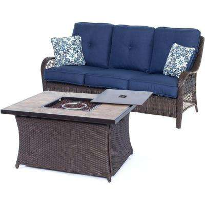 Orleans Brown 2-Piece All-Weather Wicker Patio Fire Pit Seating Set with Navy Blue Cushions