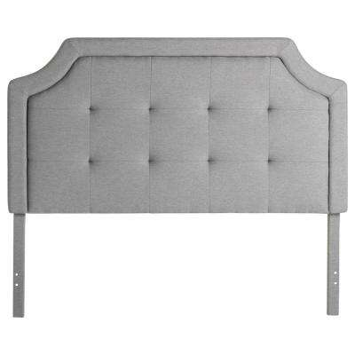 Upholstered Scoop-Edge King Stone Headboard with Square Tufting