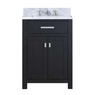24 in. Vanity in Espresso with Marble Vanity Top in Carrara White