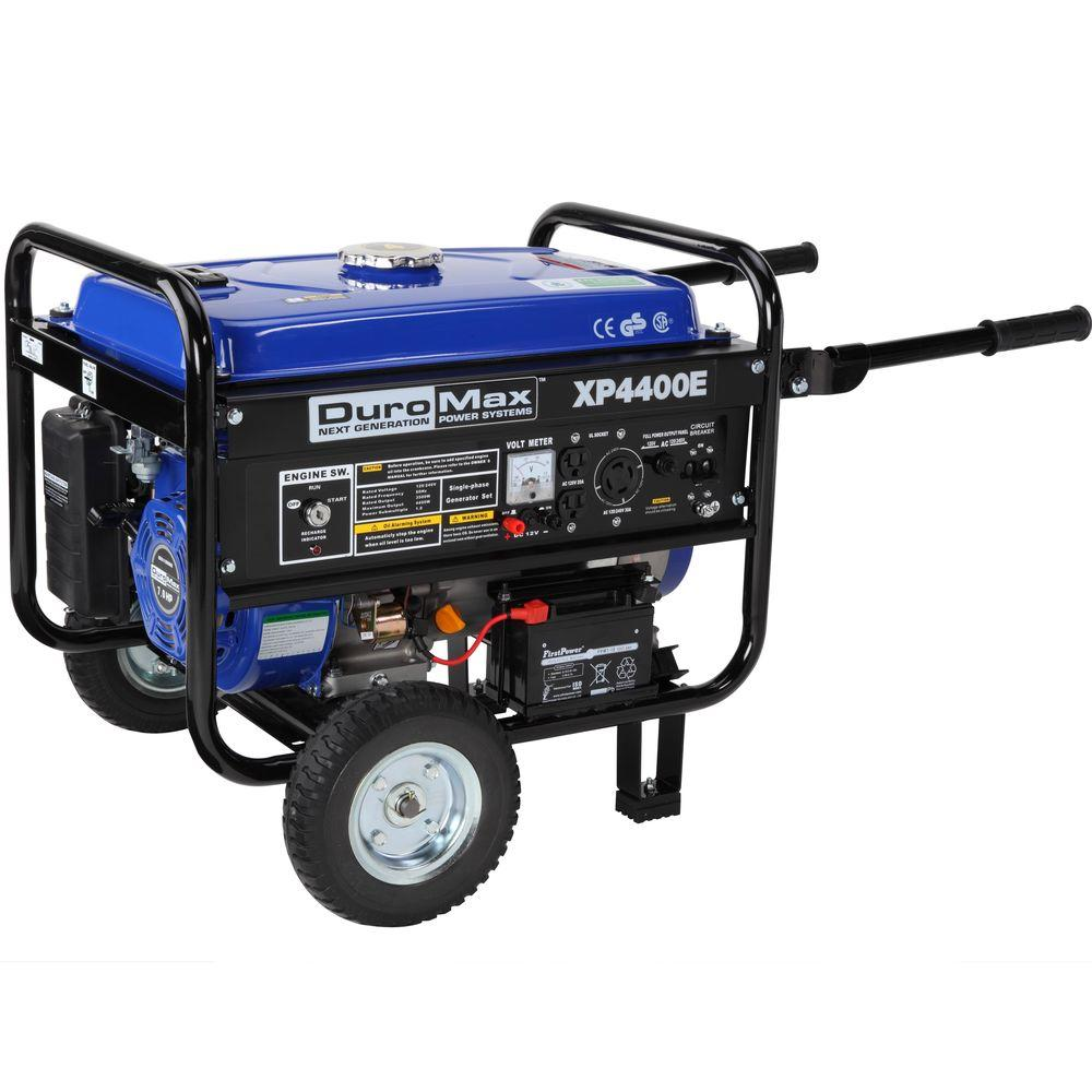 Duromax 4,400/3,500-Watt Gasoline Powered Electric Start Portable Generator with Wheel Kit - CARB Approved