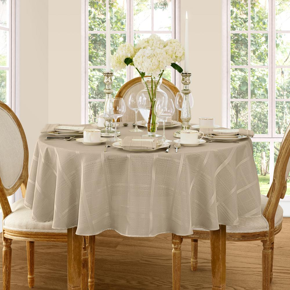 70 in. Round Beige Elrene Elegance Plaid Damask Fabric Tablecloth
