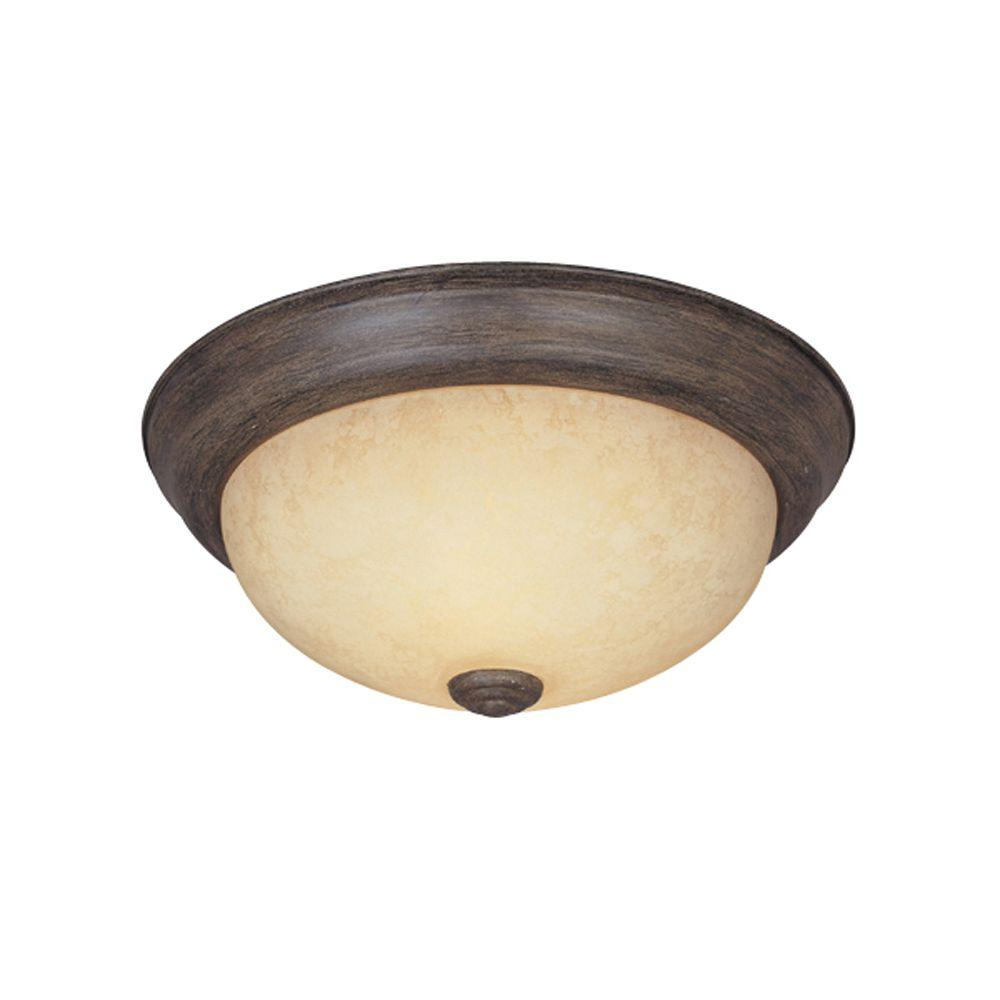 Reedley Collection 3-Light Warm Mahogany Ceiling Flushmount