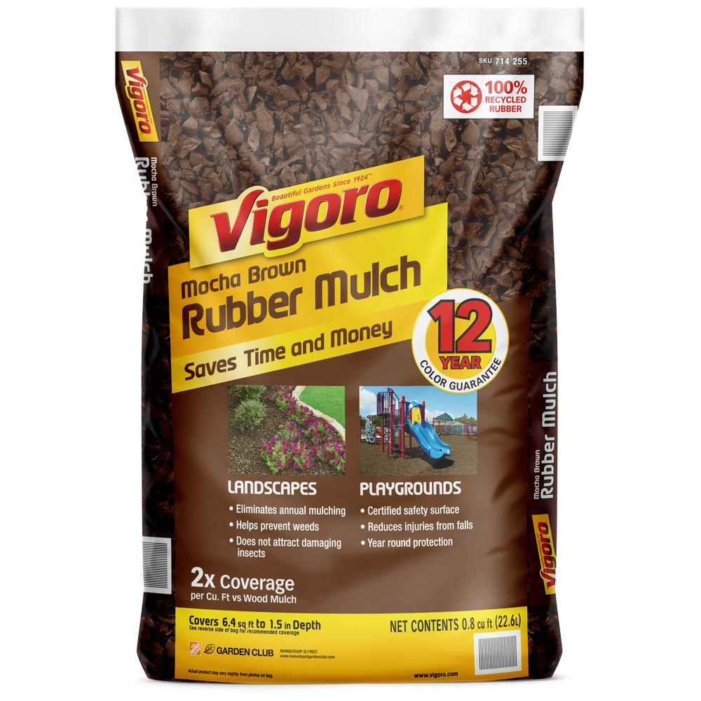 0.8 cu. ft. Mocha Brown Bagged Rubber Mulch