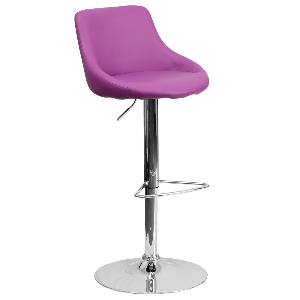 Flash Furniture 32 In Adjustable Height Purple Cushioned
