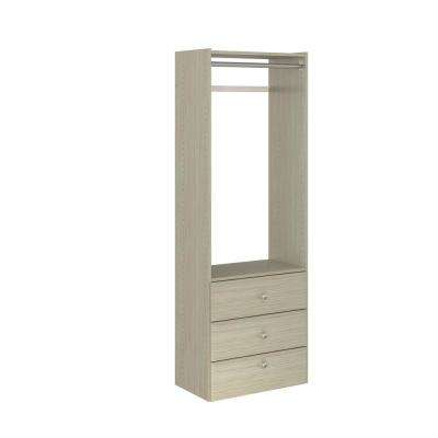 14 in. D x 25.125 in. W x 72 in. H Rustic Grey Wood Elite Tower Closet Kit