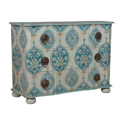 Duchess 3-Drawer White and Blue Floral Chest
