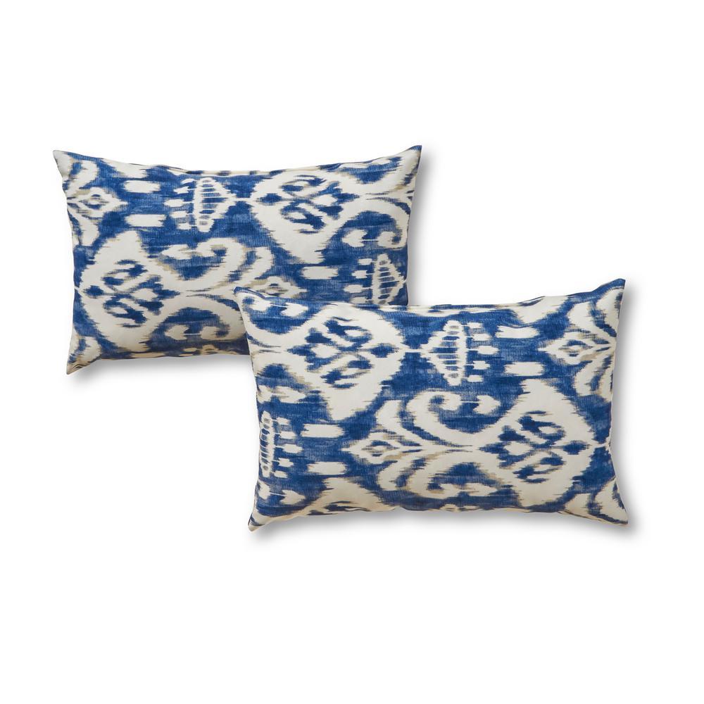 Greendale Home Fashions Azule Ikat Lumbar Outdoor Throw Pillow 2 Pack Oc5811s2 Azule The Home Depot