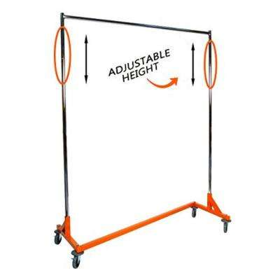 "Adjustable Height Industrial Strength Z Rack with Built-in Height Extensions - Orange Base 72"" H x 63"" W x 24"" D"