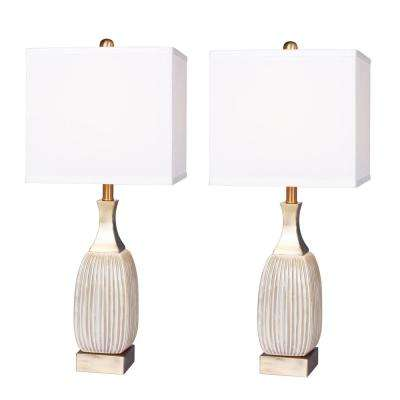 26.5 in. Vertically Ribbed Aged White Ceramic and Antique Brass Table Lamp (2-Pack)