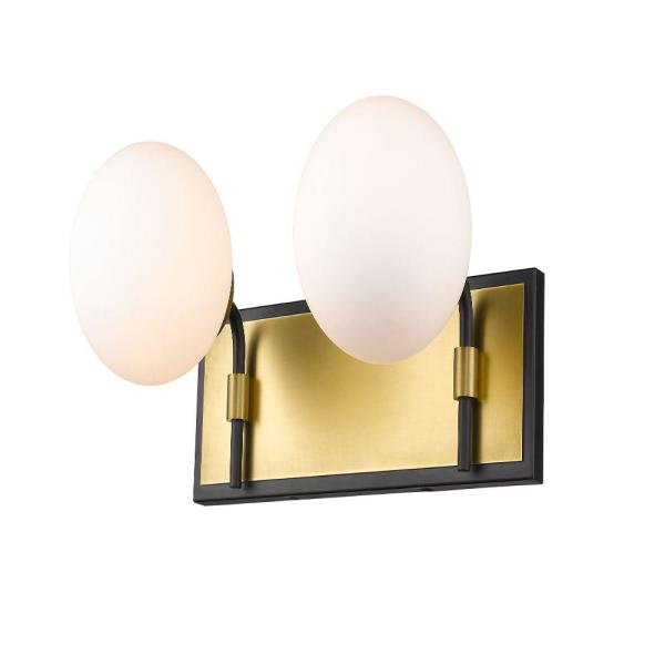 16 in. 2-Light Matte Black and Olde Brass Vanity Light with Opal Glass