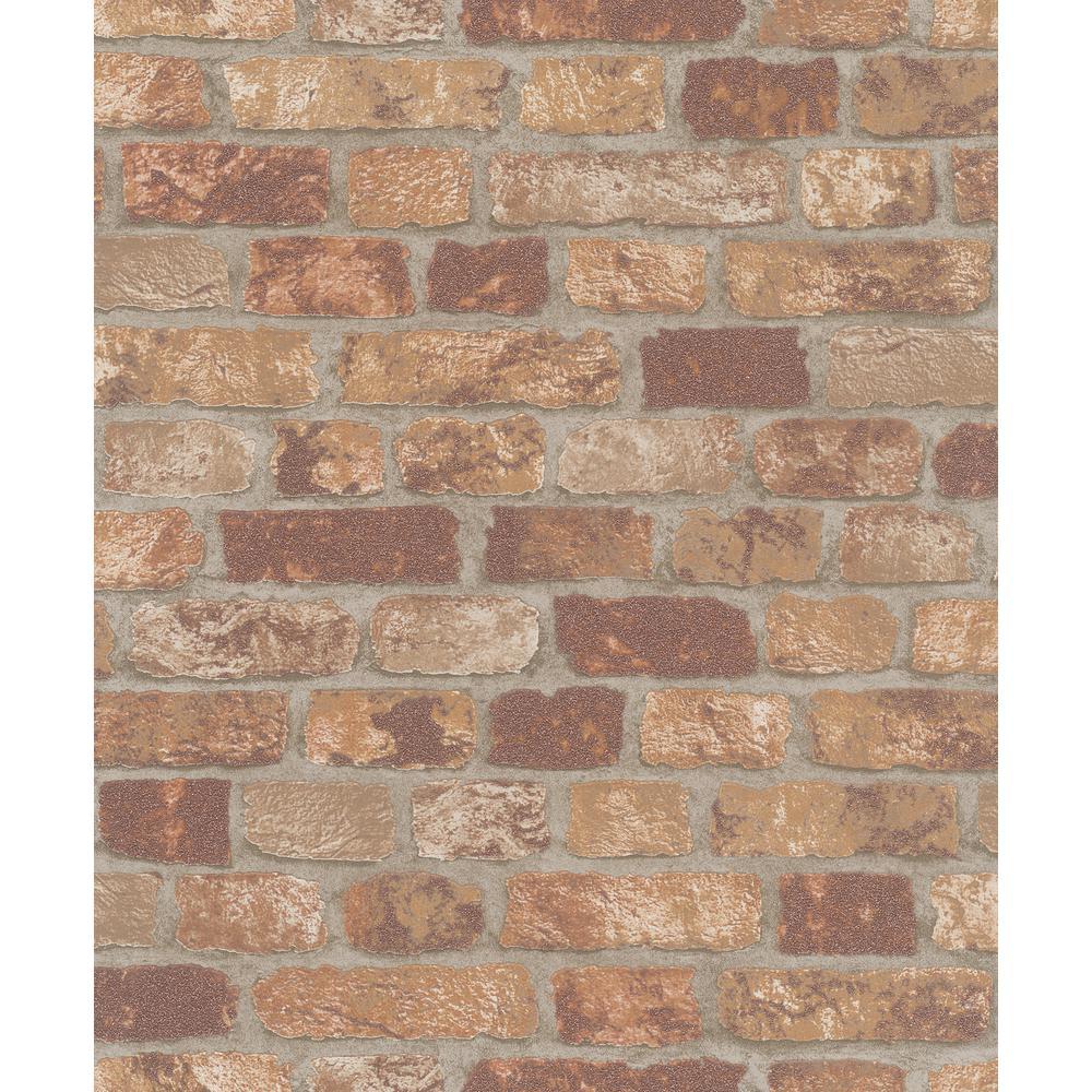 56.4 sq. ft. Granulat Brown Stone Wallpaper