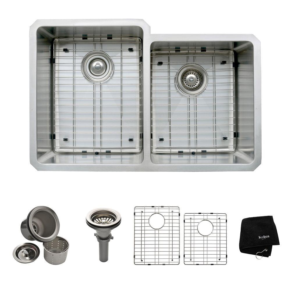 KRAUS All-in-One Undermount Stainless Steel 32 in. 50/50 Double Bowl Kitchen Sink