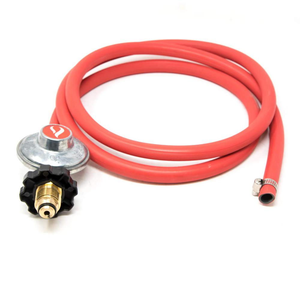 GASONE POL 6 ft. Propane Regulator with Clamp Style Hose The 2103 low pressure propane regulator with a hose is designed to be a safe, reliable equipment used with propane burners. With this simple regulator, you'll be able to use your stove or grill while having the comfort of knowing that safety is the least of your worries. All that you need to do is attach 1 end to a propane tank and the other to a grill then you're good to go.