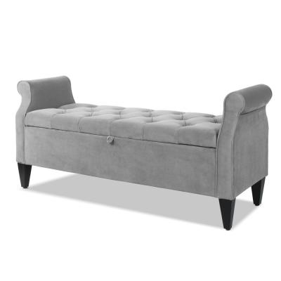 Jacqueline Tufted Roll Arm Storage Bench Opal Grey