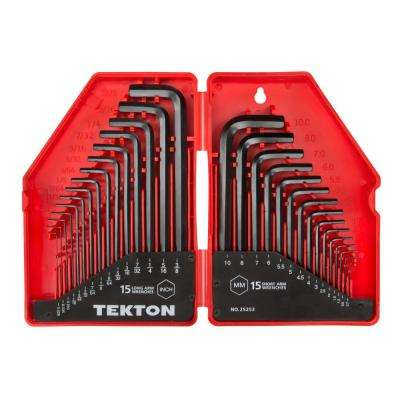 0.028-3/8 in., 0.7-10 mm Hex Key Wrench Set (30-Piece)
