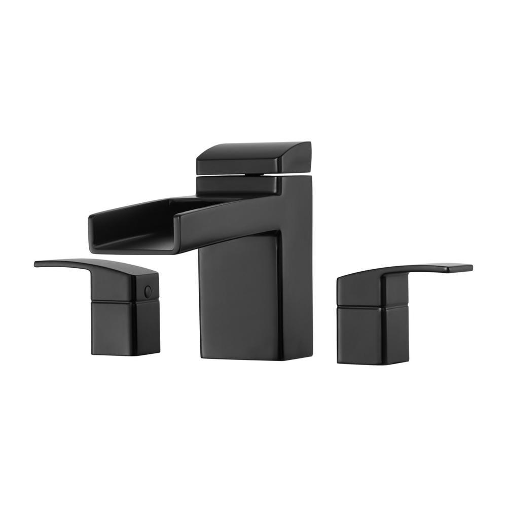 Kenzo 2-Handle Waterfall Spout Roman Tub Trim Kit in Matte Black