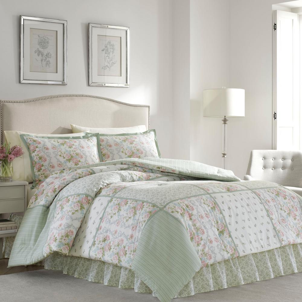 Laura Ashley Harper Green 4-Piece Queen Comforter Sets