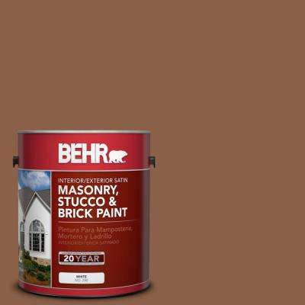 1 gal. #S240-7 Leather Work Satin Interior/Exterior Masonry, Stucco and Brick Paint