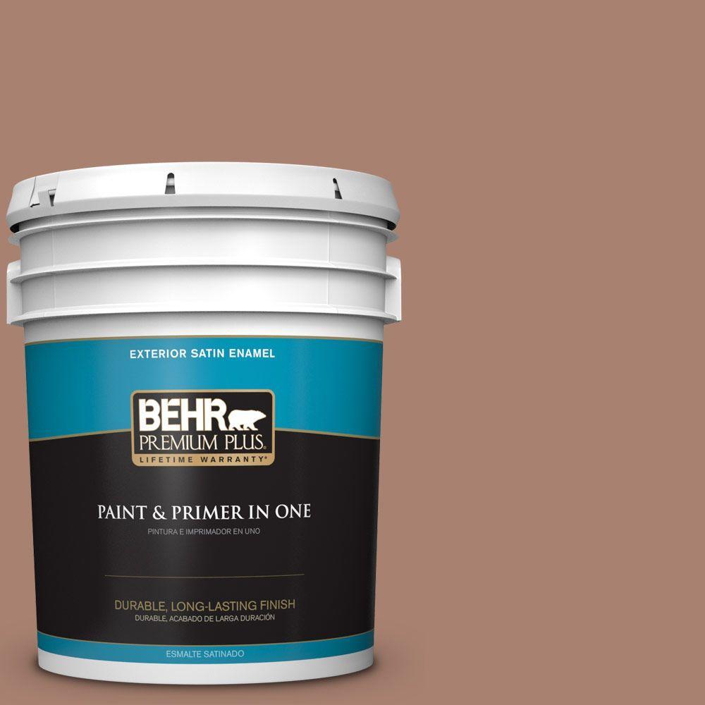 BEHR Premium Plus 5-gal. #S190-5 Cocoa Nutmeg Satin Enamel Exterior Paint