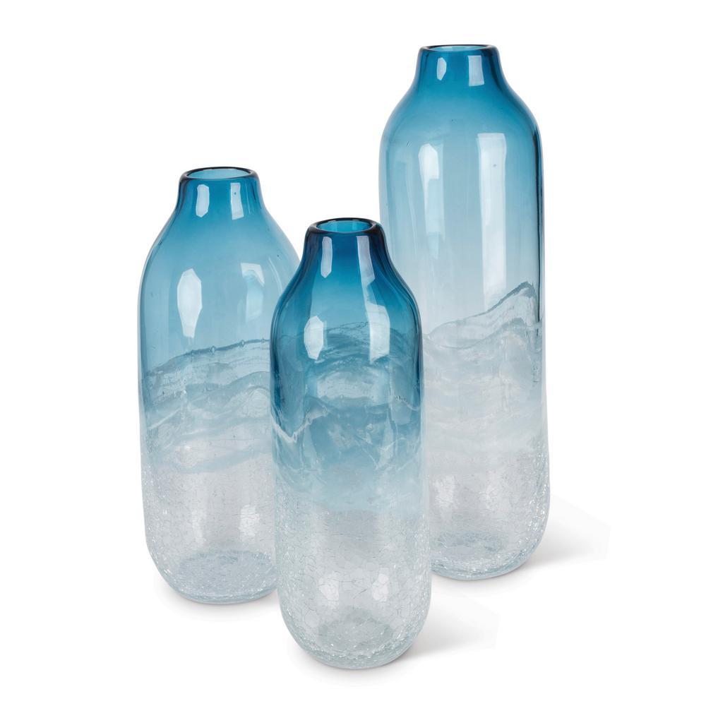 Art Indigo Multicolor Glass Vases (Set of 3)