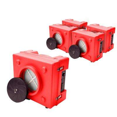 1/3 HP 2.5 Amp HEPA Air Purifier Scrubber for Water Damage Restoration Negative Air Machine in Red (72-Pack)