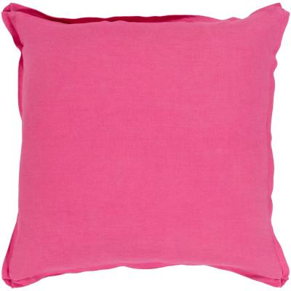 Zevgari Pink Solid Polyester 22 in. x 22 in. Throw Pillow