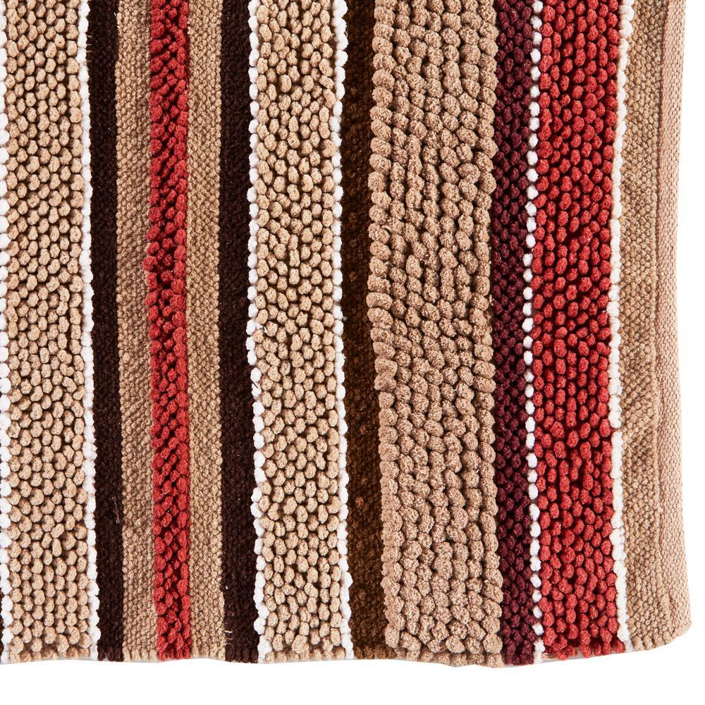 Saturday Knight Madison Stripe 20 in. x 30 in. Cotton Bath Rug in Red